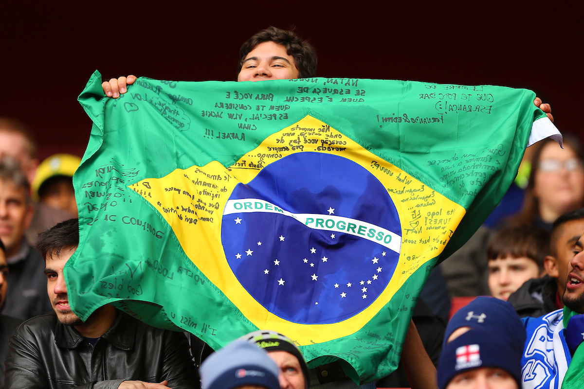 A Brazil fan in party mood during the International Friendly match at the Emirates Stadium, London Picture by Richard Calver/Focus Images Ltd +44 7792 981244 28/03/2015