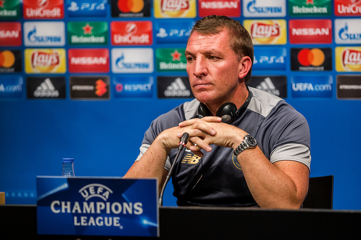 Brendan Rodgers pictured during Celtic press conference at Camp Nou, Barcelona Picture by Luis Tato/Focus Images Ltd (+34) 661 459 33 12/09/2016