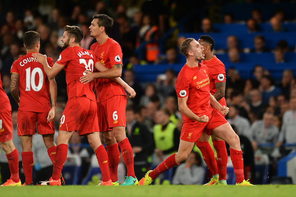 Jordan Henderson of Liverpool (1st right) celebrates scoring his sides second goal to make the scoreline 2-0 during the Premier League match between Chelsea and Liverpool at Stamford Bridge, London Picture by Richard Blaxall/Focus Images Ltd +44 7853 364624 16/09/2016
