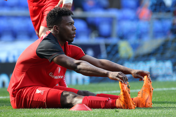 Daniel Sturridge of Liverpool warms up prior to the Barclays Premier League match against Everton at Goodison Park, Liverpool. Picture by Michael Sedgwick/Focus Images Ltd +44 7900 363072 04/10/2015