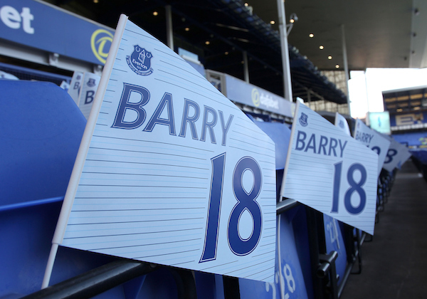 Flags prepared to celebrate the 600 Premiership match of Gareth Barry of Everton prior to the Premier League match against Middlesbrough at Goodison Park, Liverpool. Picture by Michael Sedgwick/Focus Images Ltd +44 7900 363072 17/09/2016