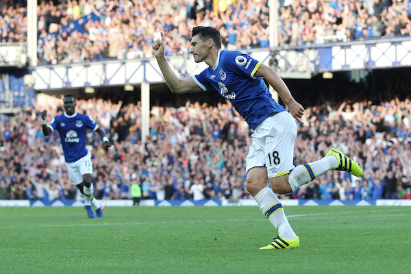 Gareth Barry of Everton celebrates scoring the first goal against Middlesbrough during the Premier League match at Goodison Park, Liverpool. Picture by Michael Sedgwick/Focus Images Ltd +44 7900 363072 17/09/2016