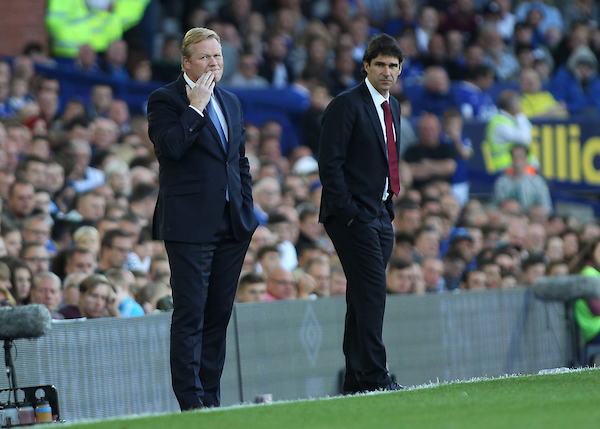 Everton manager Ronald Koeman on the touchline during the Premier League match against Middlesbrough at Goodison Park, Liverpool. Picture by Michael Sedgwick/Focus Images Ltd +44 7900 363072 17/09/2016