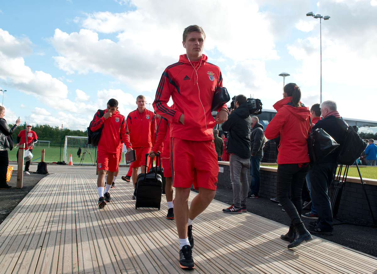 Benfica players arrive before the friendly match at Broadhurst Park, Moston Picture by Russell Hart/Focus Images Ltd 07791 688 420 29/05/2015