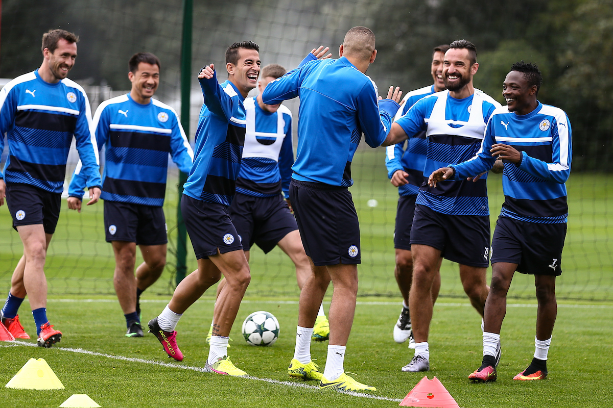 Islam Slimani of Leicester City (centre) is ribbed by his team mates during the Leicester City training session at Leicester City Training Ground, Leicester Picture by Andy Kearns/Focus Images Ltd 0781 864 4264 26/09/2016