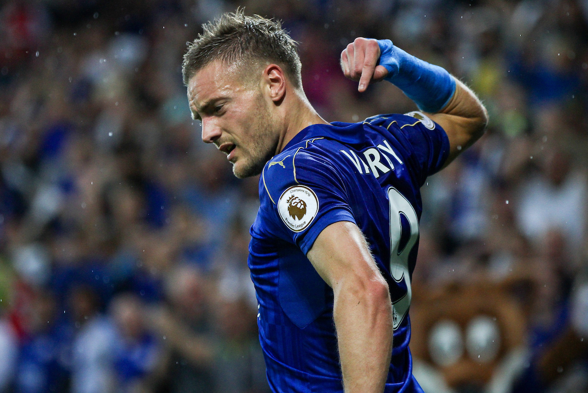 Jamie Vardy of Leicester City points to his name on his shirt after scoring during the Premier League match at the King Power Stadium, Leicester Picture by Andy Kearns/Focus Images Ltd 0781 864 4264 27/08/2016