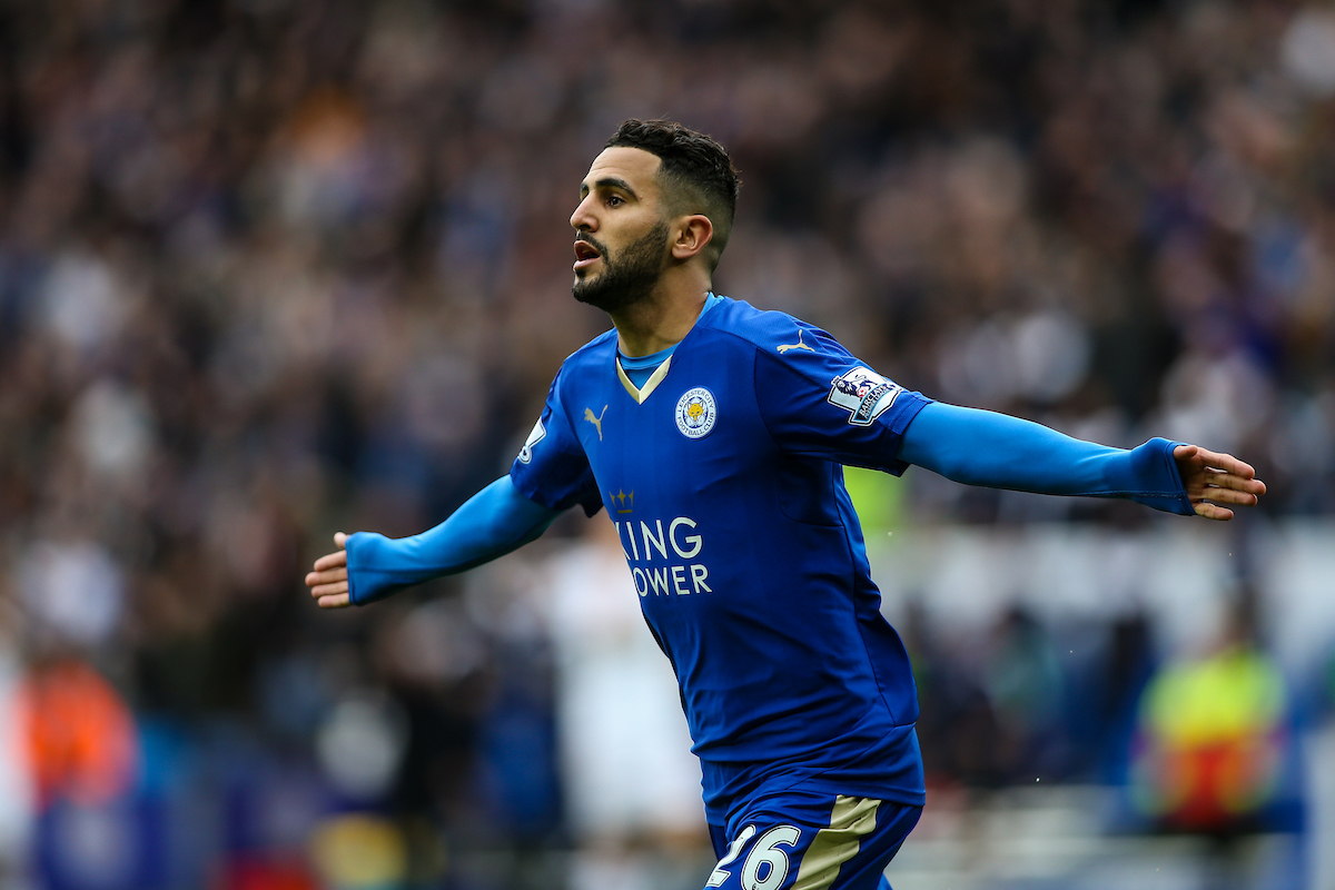 Riyad Mahrez of Leicester City celebrates scoring during the Barclays Premier League match at the King Power Stadium, Leicester Picture by Andy Kearns/Focus Images Ltd 0781 864 4264 24/04/2016