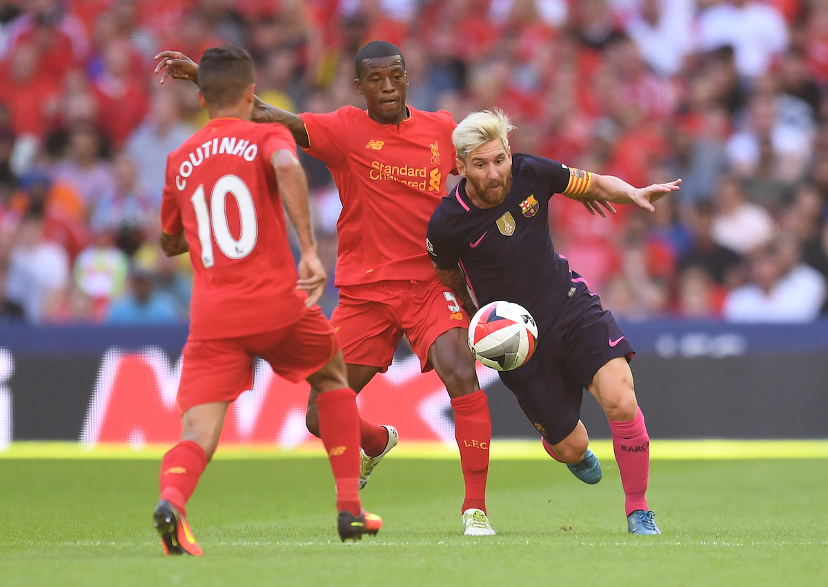 Gerogino Wijnaldum of Liverpool and Lionel Messi of FC Barcelona during the International Champions Cup match at Wembley Stadium, London Picture by Andrew Timms/Focus Images Ltd +44 7917 236526 06/08/2016