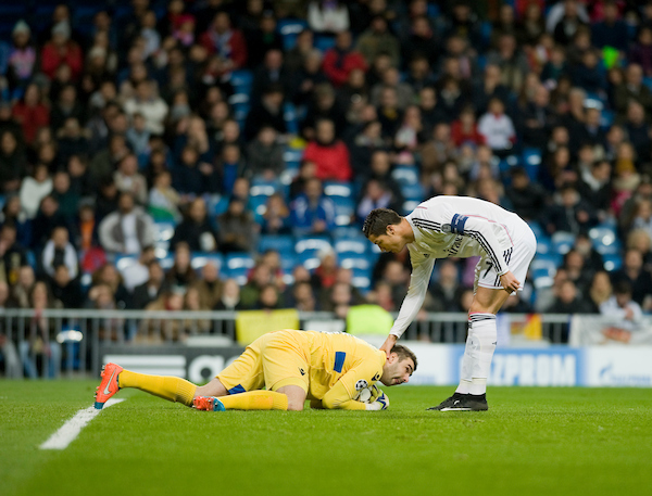 Cristiano Ronaldo of Real Madrid and Stoyanov of Ludogorets Razgrad during the UEFA Champions League match at the Estadio Santiago Bernabeu, Madrid Picture by Marcos Calvo Mesa/Focus Images Ltd +34 654142934 09/12/2014