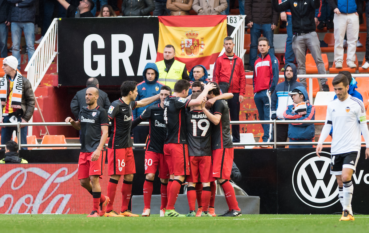 Athletic Bilbao players celebrates the first goal during the La Liga match at Mestalla, Valencia Picture by Maria Jose Segovia/Focus Images Ltd +34 660052291 28/02/2016