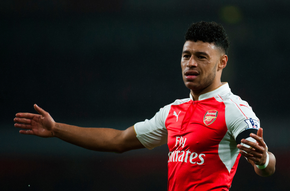 Alex Oxlade-Chamberlain of Arsenal appeals to the assistant referee during the Barclays Premier League match at the Emirates Stadium, London Picture by Jack Megaw/Focus Images Ltd +44 7481 764811 24/10/2015