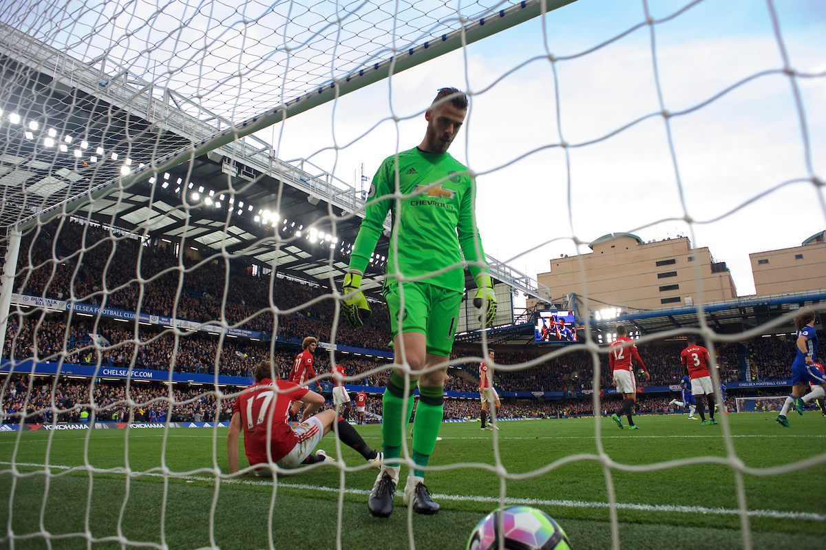 Goalkeeper David De Gea of Manchester United picks the ball out of the net after Gary Cahill of Chelsea scores his side's 2nd goal during the Premier League match at Stamford Bridge, London Picture by Alan Stanford/Focus Images Ltd +44 7915 056117 23/10/2016