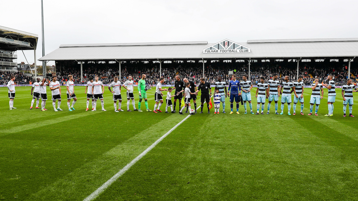 QPR and Fulham prepare for the start of the match during the Sky Bet Championship match at Craven Cottage, London Picture by Toyin Oshodi/Focus Images Ltd 07984788195 01/10/2016