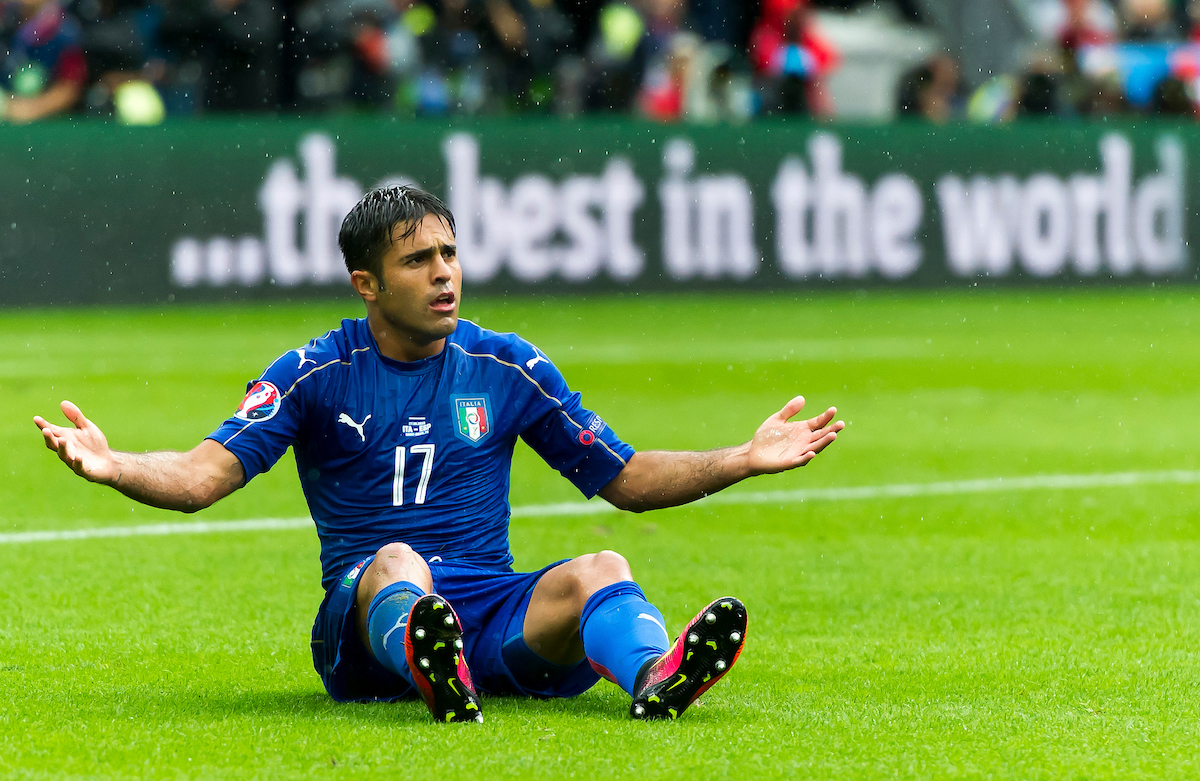 Eder of Italy protests after being fouled during the UEFA Euro 2016 match at Stade de France, Paris Picture by Anthony Stanley/Focus Images Ltd 07833 396363 27/06/2016