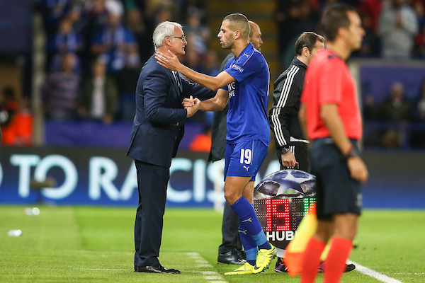 Islam Slimani of Leicester City (centre) is congratulated on his performance by Leicester City manager Claudio Ranieri (left) after being substituted during the UEFA Champions League match at the King Power Stadium, Leicester Picture by Andy Kearns/Focus Images Ltd 0781 864 4264 27/09/2016