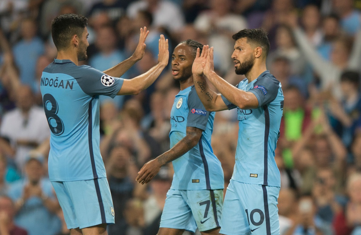 Hat-trick scorer Sergio Aguero of Manchester City (right) is congratulated by his team-mates ?lkay Gundogan (left) and Raheem Sterling (centre) during the UEFA Champions League match at the Etihad Stadium, Manchester Picture by Russell Hart/Focus Images Ltd 07791 688 420 14/09/2016