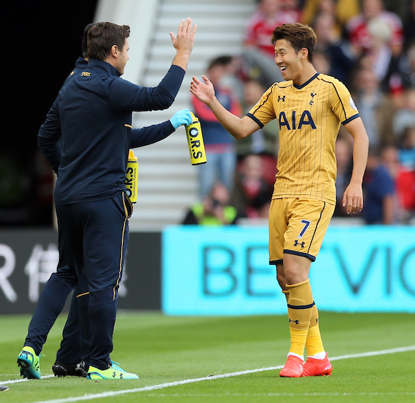 Son Heung-Min (r) of Tottenham Hotspur celebrates scoring the opening goal with Tottenham Hotspur manager Mauricio Pochettino during the Premier League match at the Riverside Stadium, Middlesbrough Picture by Simon Moore/Focus Images Ltd 07807 671782 24/09/2016