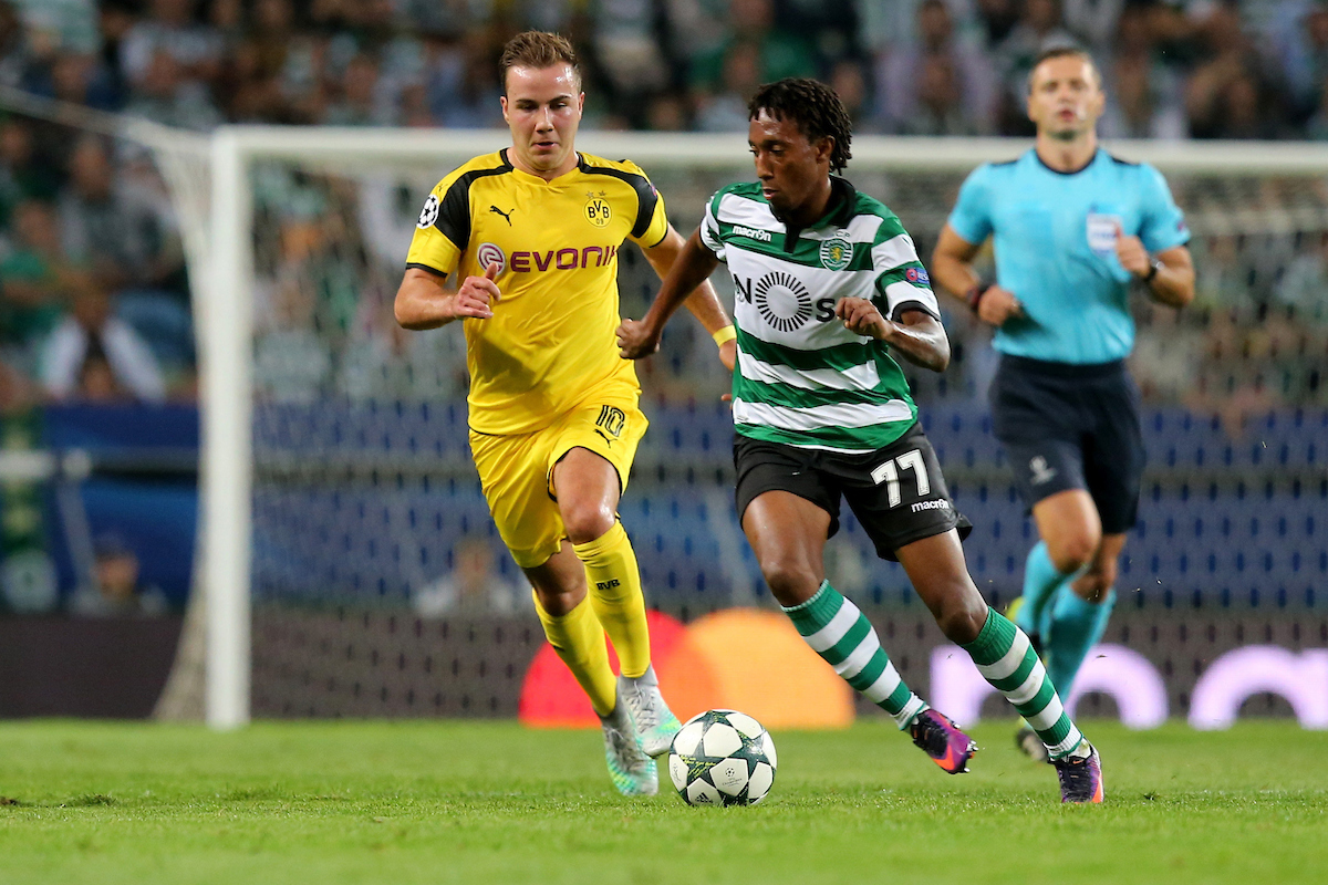Gelson Martins of Sporting Clube de Portugal and Mario Goetze of Borussia Dortmund during the UEFA Champions League match at Estádio José Alvalade, Lisbon Picture by EXPA Pictures/Focus Images Ltd 07814482222 18/10/2016 *** UK & IRELAND ONLY *** EXPA-EIB-161018-0062.jpg