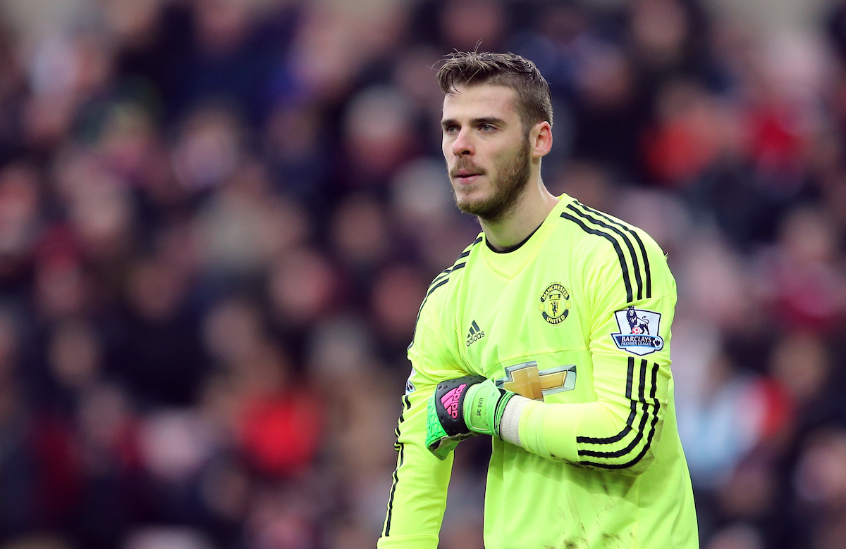 David De Gea of Manchester United during the Barclays Premier League match at the Stadium Of Light, Sunderland Picture by Simon Moore/Focus Images Ltd 07807 671782 13/02/2016