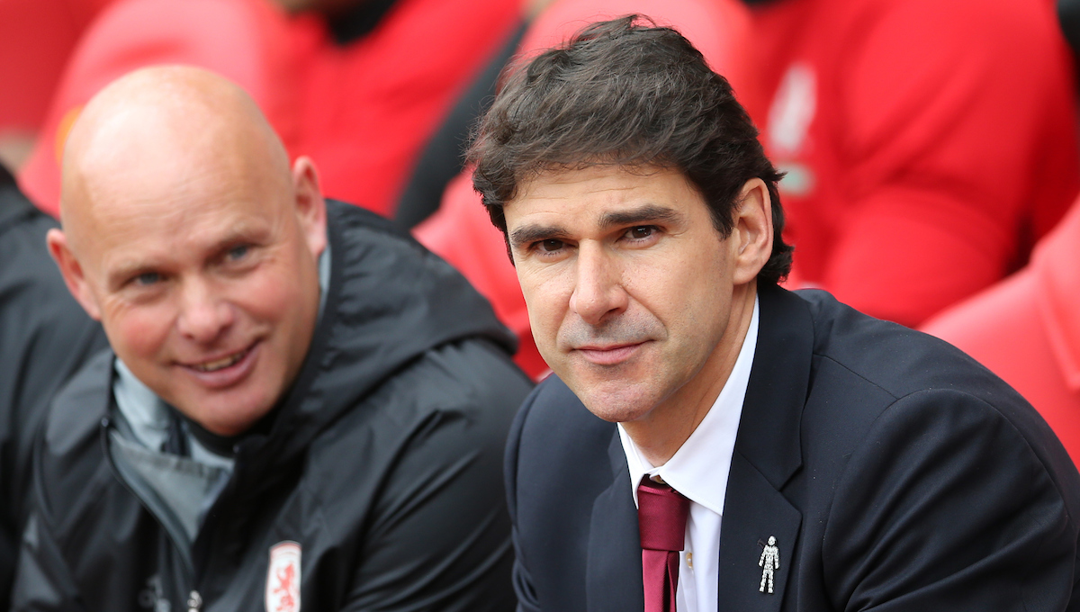 Middlesbrough head coach Aitor Karanka (r) and Middlesbrough assistant head coach Steve Agnew prior to the Premier League match at the Stadium Of Light, Sunderland Picture by Simon Moore/Focus Images Ltd 07807 671782 21/08/2016