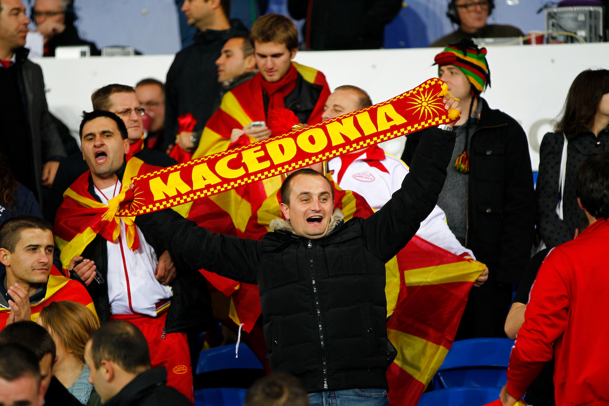 Picture by Mike  Griffiths/Focus Images Ltd +44 7766 223933 11/10/2013 Macedonia fans during the 2014 FIFA World Cup Qualifying match at the Cardiff City Stadium, Cardiff.