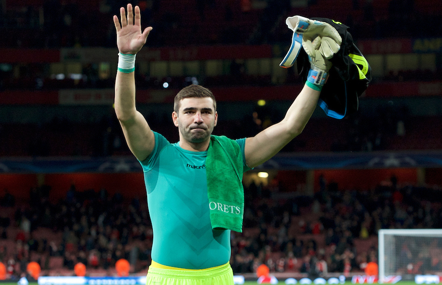 Goalkeeper Vladislav Stoyanov of Ludogorets Razgrad thanks the fans after the UEFA Champions League match at the Emirates Stadium, London Picture by Alan Stanford/Focus Images Ltd +44 7915 056117 19/10/2016