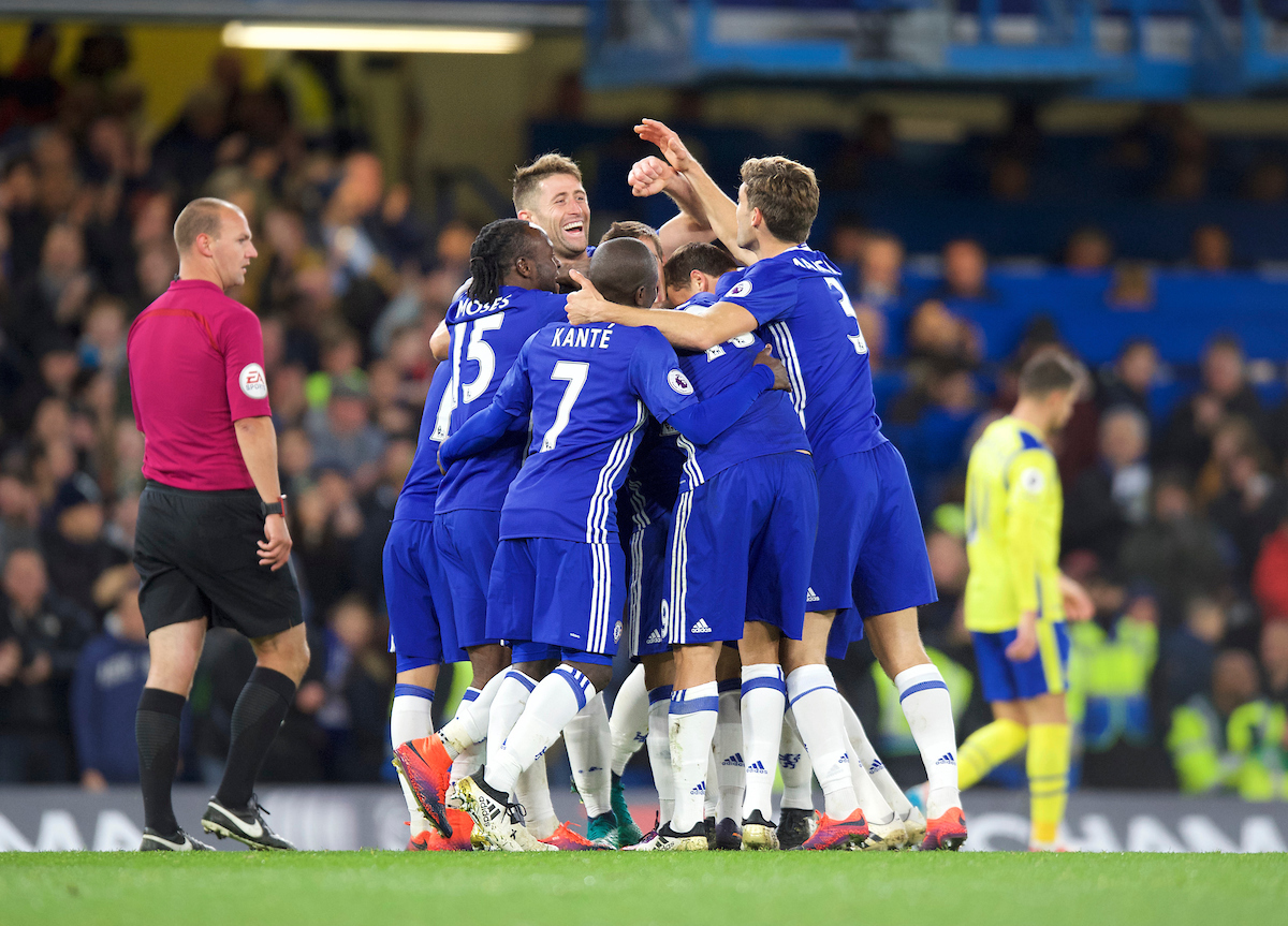Chelsea celebrate their 4th goal during the Premier League match at Stamford Bridge, London Picture by Alan Stanford/Focus Images Ltd +44 7915 056117 05/11/2016