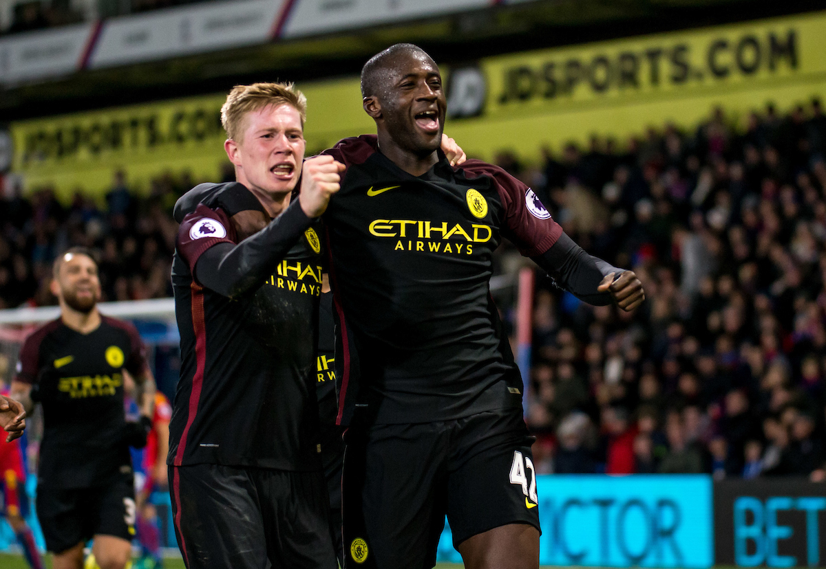 Yaya Toure of Manchester City celebrates the winning goal with Kevin De Bruyne of Manchester City during the Premier League match at Selhurst Park, London Picture by Liam McAvoy/Focus Images Ltd 07413 543156 19/11/2016