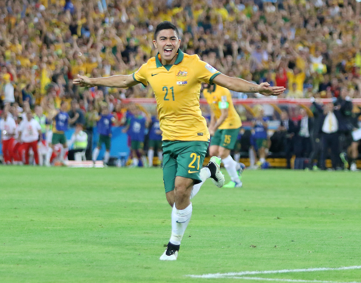 Massimo Luongo of Australia celebrates scoring the opening goal against the Korea Republic during the AFC Asian Cup match at Stadium Australia, Sydney Picture by Steven Gibson/Focus Images Ltd +61 413 768835 31/01/2015