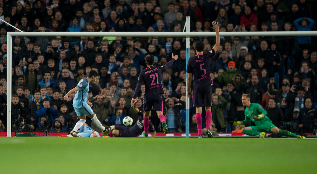 Ilkay Gundogan of Manchester City scores his team's 3rd goal to make it 3-1 during the UEFA Champions League match at the Etihad Stadium, Manchester Picture by Russell Hart/Focus Images Ltd 07791 688 420 01/11/2016