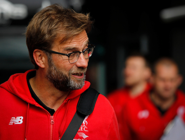 Jurgen Klopp of Liverpool arriving for the Barclays Premier League match at the Liberty Stadium, Swansea, UK. Picture by Mike Griffiths/Focus Images Ltd +44 7766 223933 01/05/2016
