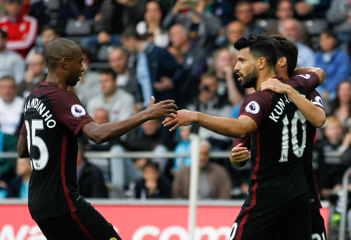 Sergio Aguero (C) celebrates the second goal for Manchester City during the Premier League match at the Liberty Stadium, Swansea Picture by Mike Griffiths/Focus Images Ltd +44 7766 223933 24/09/2016