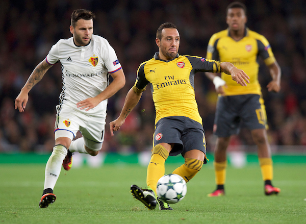 Santi Cazorla of Arsenal during the UEFA Champions League match at the Emirates Stadium, London Picture by Alan Stanford/Focus Images Ltd +44 7915 056117 28/09/2016