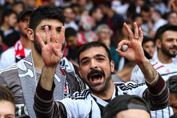 A confident Besiktas J.K. fan predicts a 0-4 scoreline before the UEFA Champions League match at the Emirates Stadium, London Picture by David Horn/Focus Images Ltd +44 7545 970036 27/08/2014