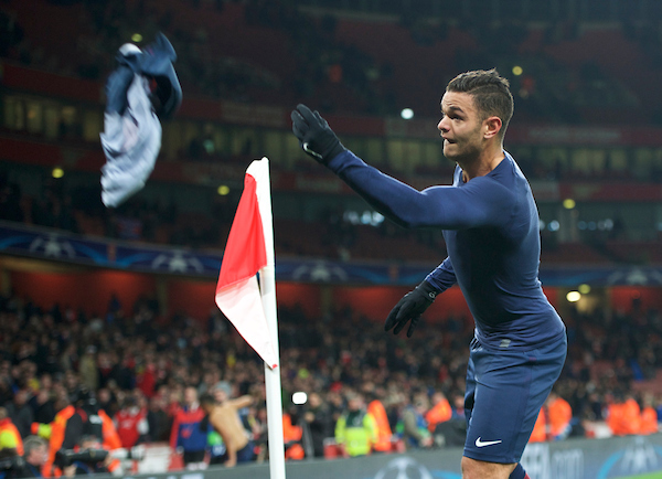 Hatem Ben Arfa of Paris Saint-Germain throws his shirt to the fans after the UEFA Champions League match at the Emirates Stadium, London Picture by Alan Stanford/Focus Images Ltd +44 7915 056117 23/11/2016