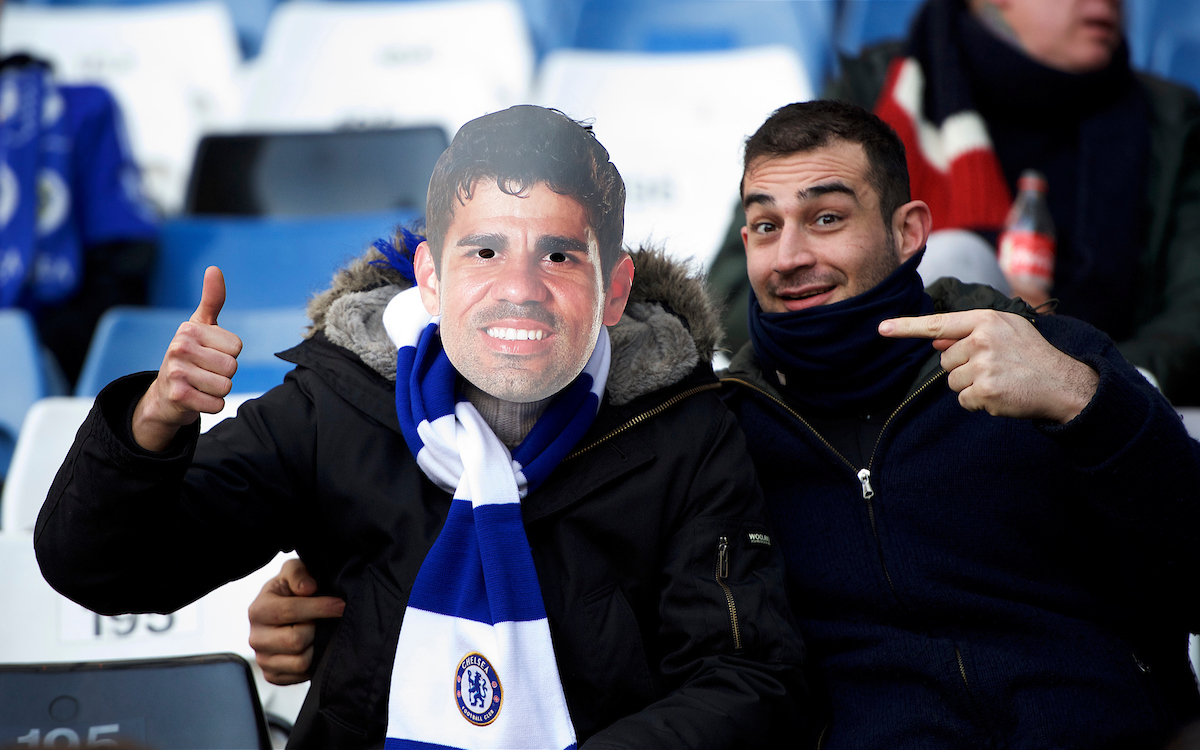 A Chelsea fan wearing a Diego Costa of Chelsea mask before the Premier League match at Stamford Bridge, London Picture by Alan Stanford/Focus I mages Ltd +44 7915 056117 26/12/2016