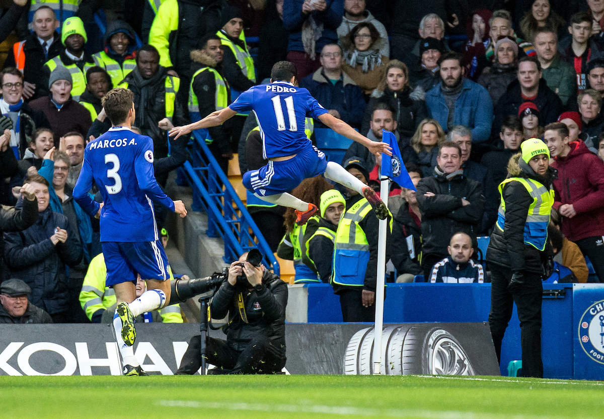 Pedro of Chelsea celebrates his goal during the Premier League match at Stamford Bridge, London Picture by Liam McAvoy/Focus Images Ltd 07413 543156 26/12/2016
