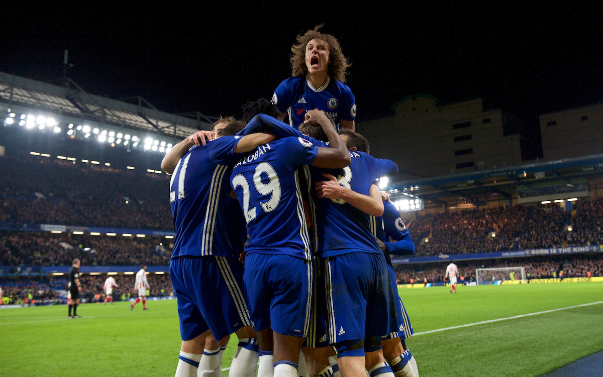 David Luiz of Chelsea celebrates after Diego Costa scores their 4th goal to make it 4-2 during the Premier League match at Stamford Bridge, London Picture by Alan Stanford/Focus Images Ltd +44 7915 056117 31/12/2016
