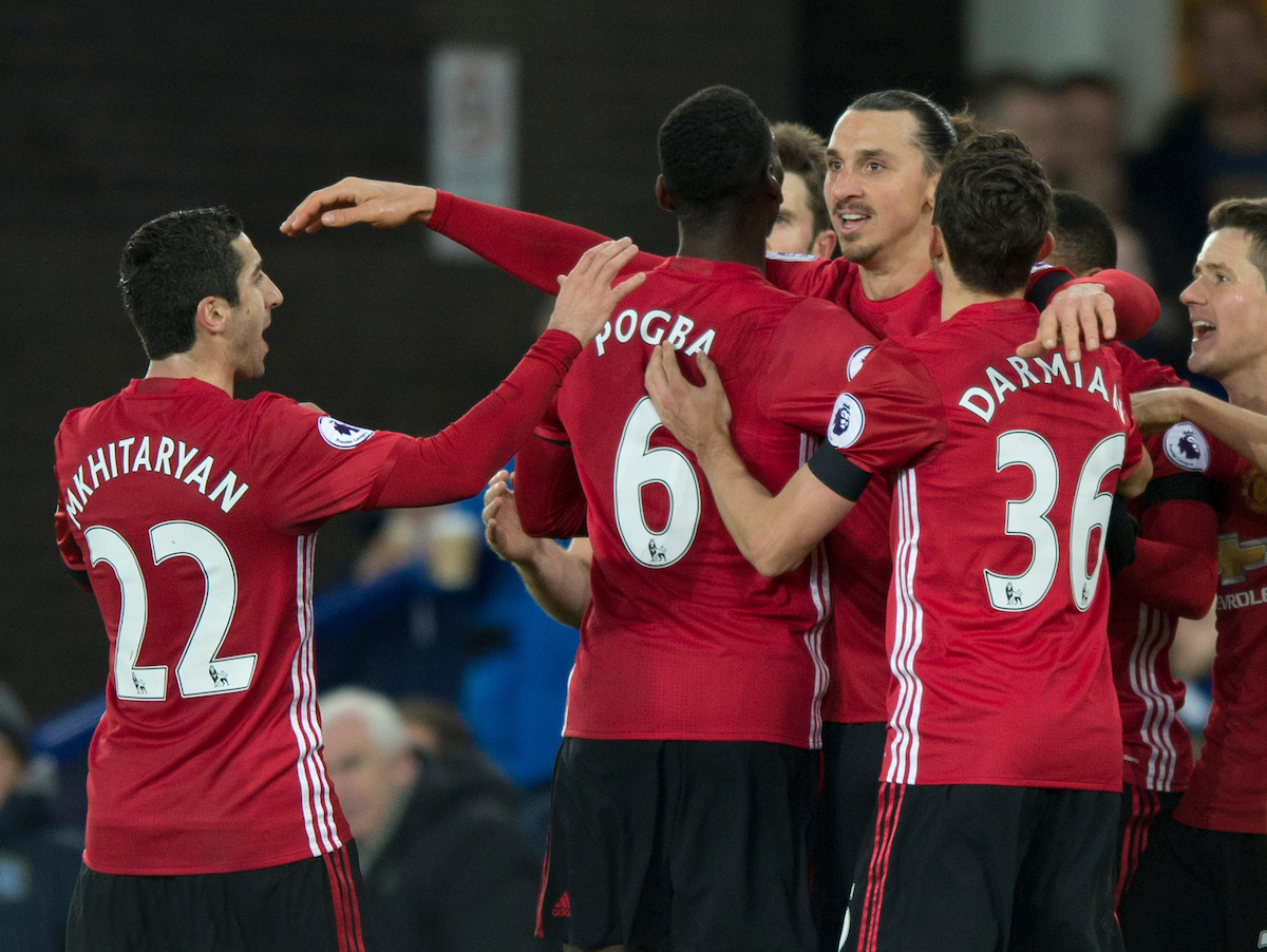 Zlatan Ibrahimovic of Manchester United celebrates with team-mates after scoring his team's 1st goal to make it 1-0 during the Premier League match at Goodison Park, Liverpool Picture by Russell Hart/Focus Images Ltd 07791 688 420 04/12/2016