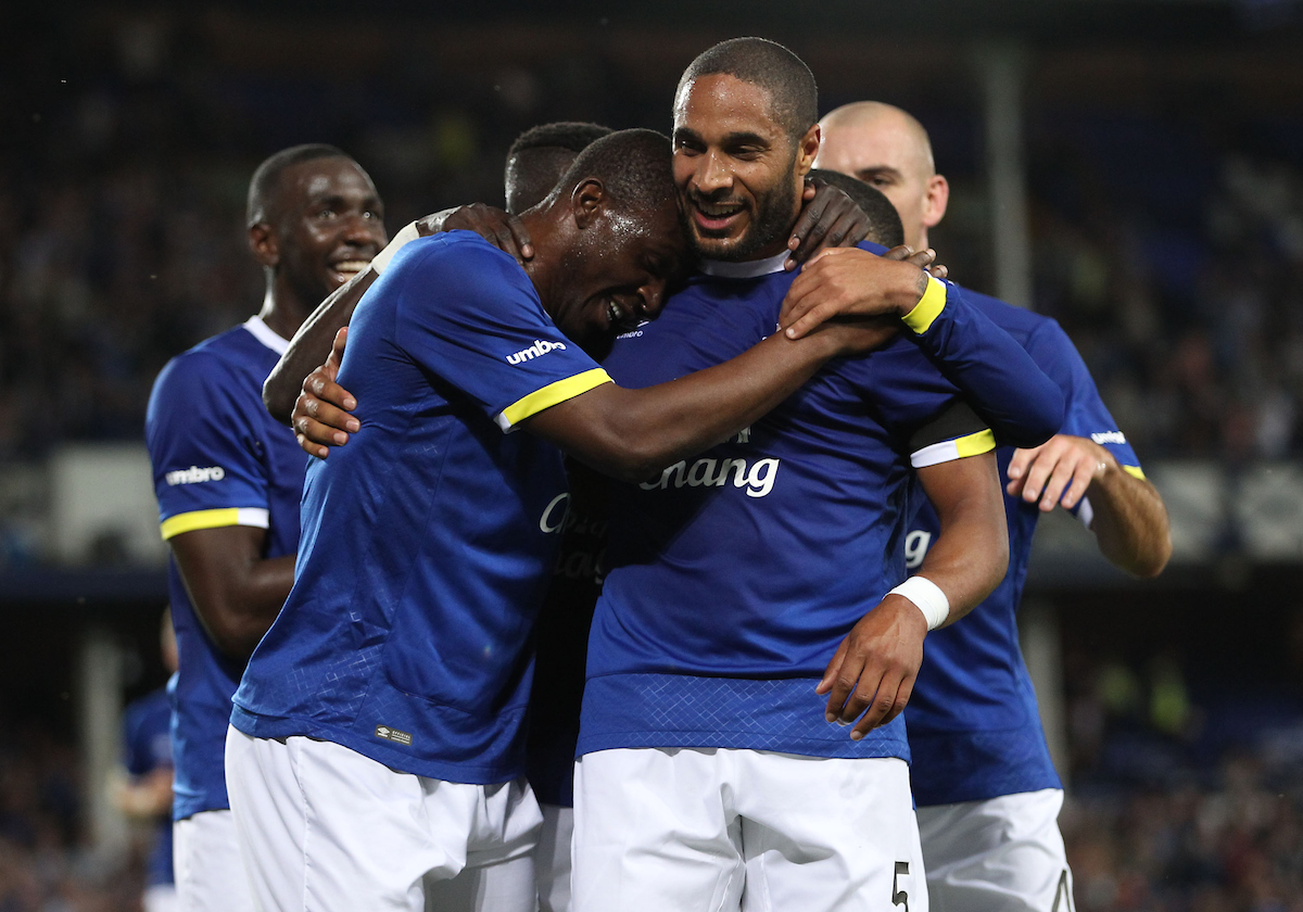 Arouna Kone of Everton celebrates with Ashley Williams after scoring the fourth goal against Yeovil Town during the EFL Cup match at Goodison Park, Liverpool. Picture by Michael Sedgwick/Focus Images Ltd +44 7900 363072 23/08/2016