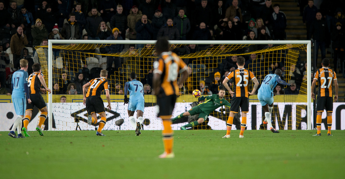 Yaya Toure of Manchester City (2nd right) scores his team's 1st goal to make it 1-0 during the Premier League match at the KCOM Stadium, Hull Picture by Russell Hart/Focus Images Ltd 07791 688 420 26/12/2016
