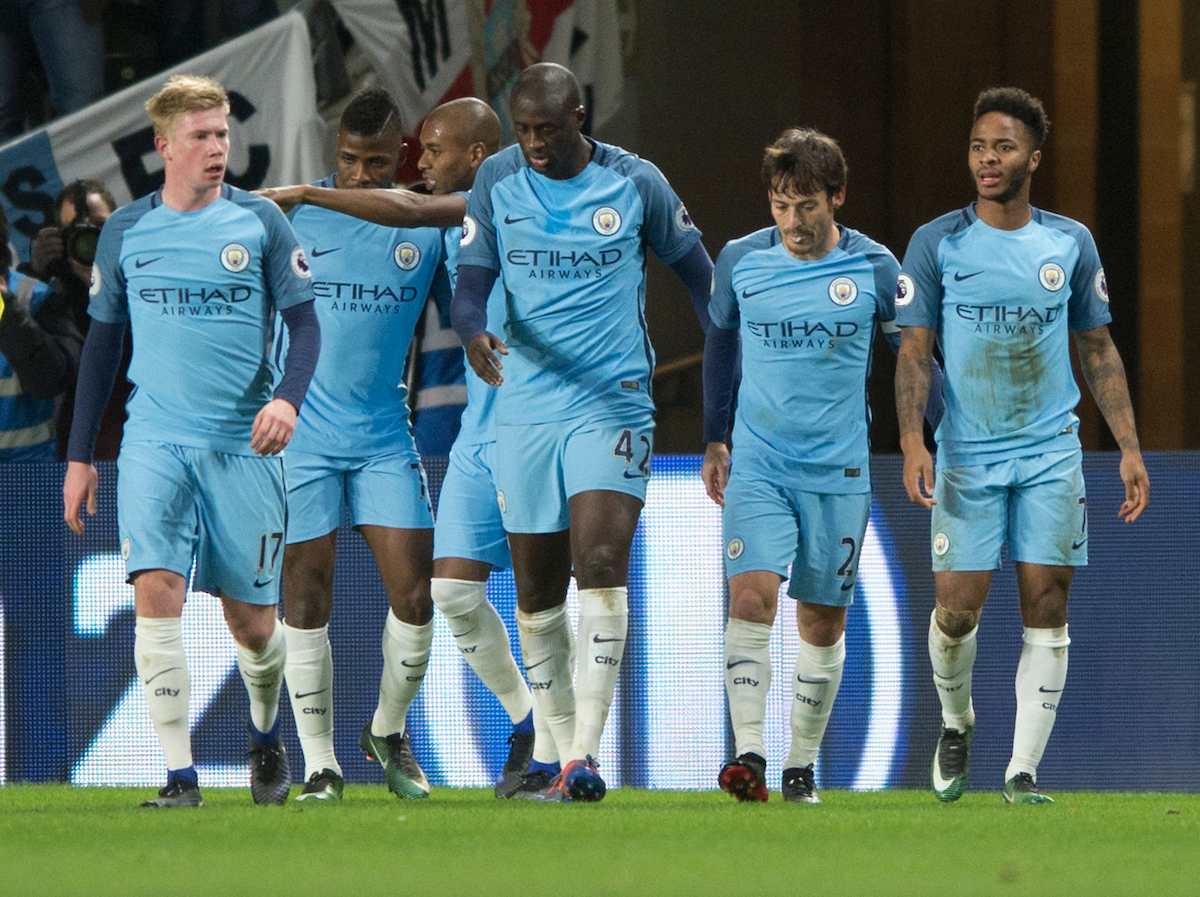 Manchester City players celebrate after going 1-0 up during the Premier League match at the KCOM Stadium, Hull Picture by Russell Hart/Focus Images Ltd 07791 688 420 26/12/2016