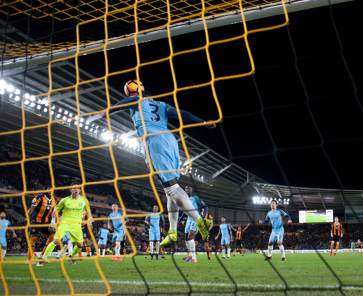 Bacary Sagna of Manchester City heads a Michael Dawson header off the line during the Premier League match at the KCOM Stadium, Hull Picture by Russell Hart/Focus Images Ltd 07791 688 420 26/12/2016