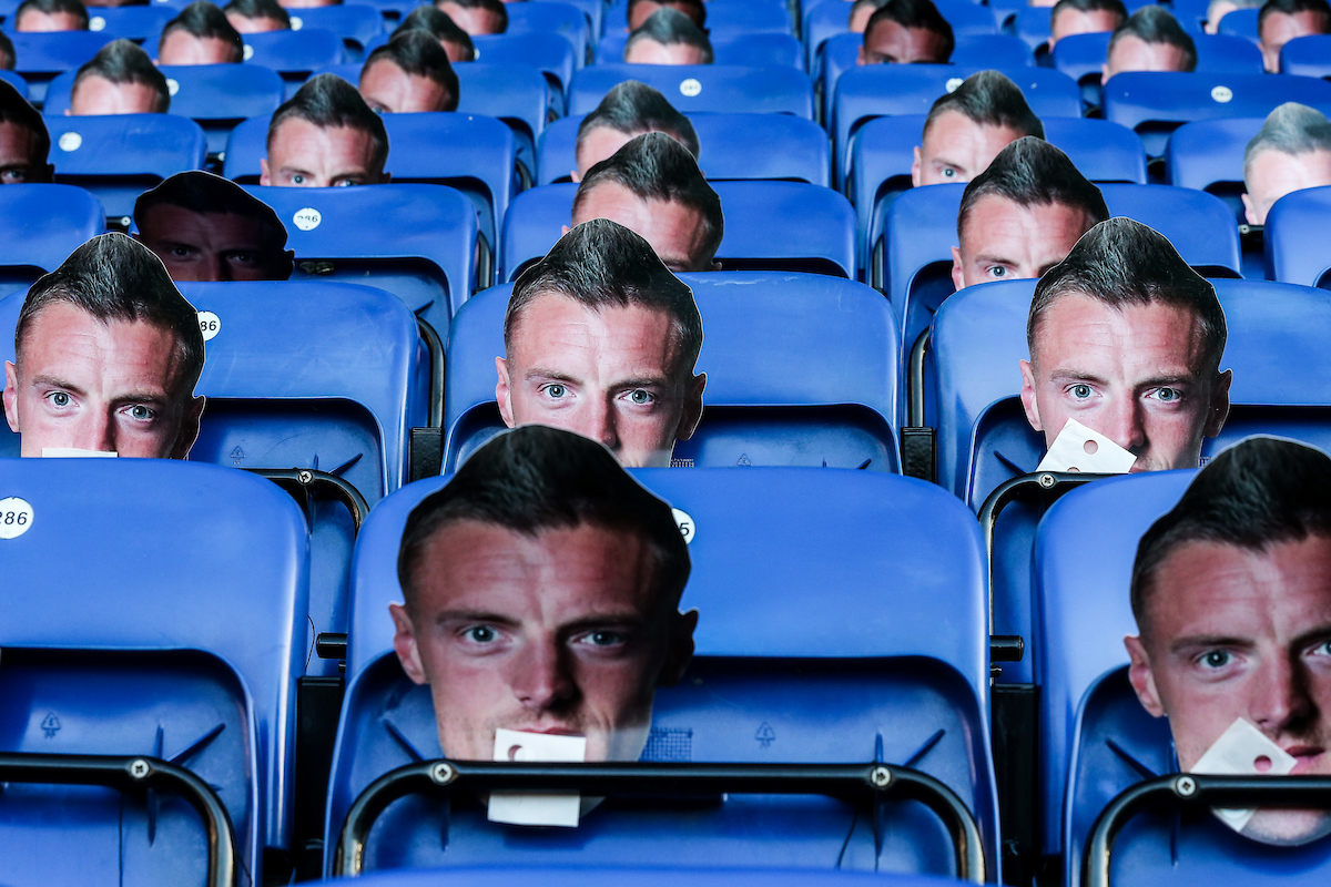 Photo masks of Jamie Vardy of Leicester City issued free to all supporters by the Premier League club in protest to the banning of their striker during the Premier League match at the King Power Stadium, Leicester Picture by Andy Kearns/Focus Images Ltd 0781 864 4264 26/12/2016
