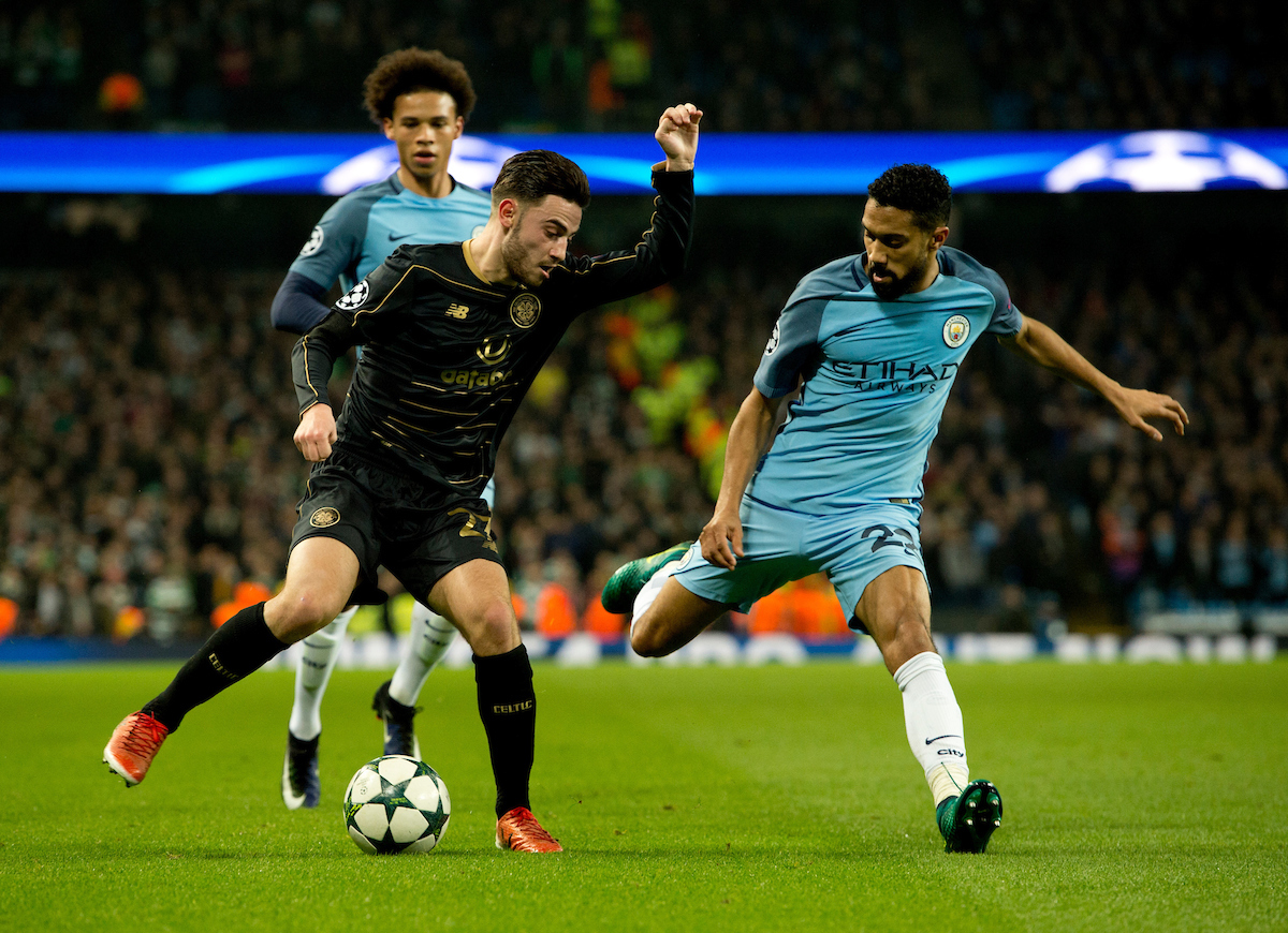 Patrick Roberts of Celtic (left) looks to find a way past Gael Clichy of Manchester City during the UEFA Champions League match at the Etihad Stadium, Manchester Picture by Russell Hart/Focus Images Ltd 07791 688 420 06/12/2016