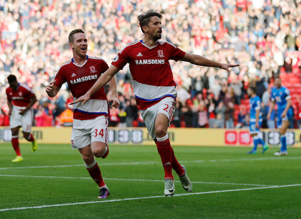 Gaston Ramirez (r) of Middlesbrough celebrates scoring the opening goal during the Premier League match at the Riverside Stadium, Middlesbrough Picture by Simon Moore/Focus Images Ltd 07807 671782 29/10/2016