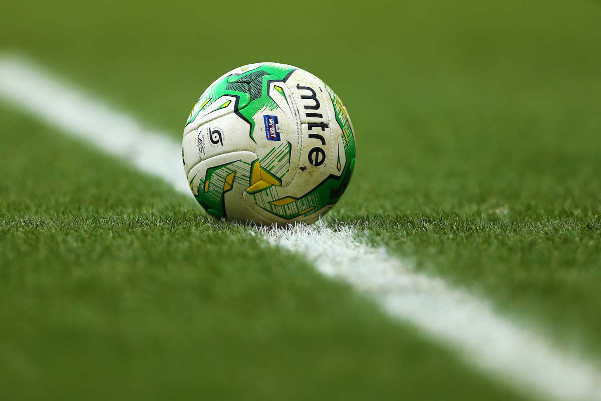 Official Match Ball Of The SkyBet Football League 2014/15, The Mitre Delta V12S in Norwich City colours during the Sky Bet Championship match at Carrow Road, Norwich Picture by Richard Calver/Focus Images Ltd +44 7792 981244 14/03/2015
