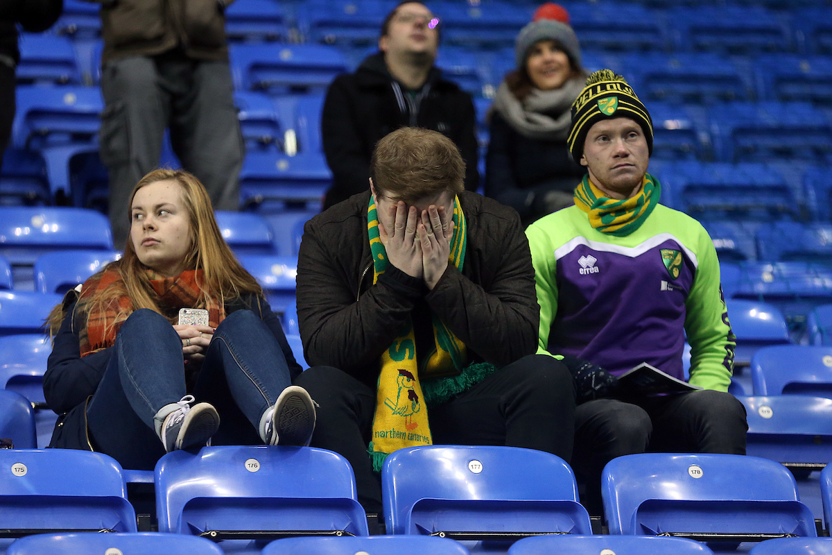 The traveling Norwich fans look dejected at the end of the Sky Bet Championship match at the Madejski Stadium, Reading Picture by Paul Chesterton/Focus Images Ltd