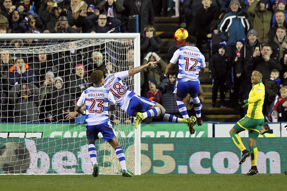 Garath McCleary of Reading is the fastest to react to put the rebound into the net for his side's 2nd goal after Yann Kermorgant of Reading chips his penalty kick against the bar during the Sky Bet Championship match at the Madejski Stadium, Reading Picture by Paul Chesterton/Focus Images Ltd