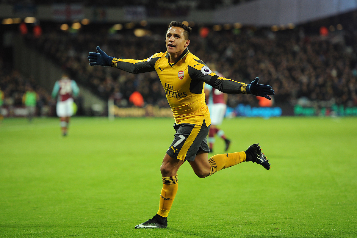 Alexis Sanchez of Arsenal celebrates scoring his sides second goal to make the scoreline 2-0 during the Premier League match between West Ham United and Arsenal at the London Stadium, Stratford Picture by Richard Blaxall/Focus Images Ltd +44 7853 364624 03/12/2016